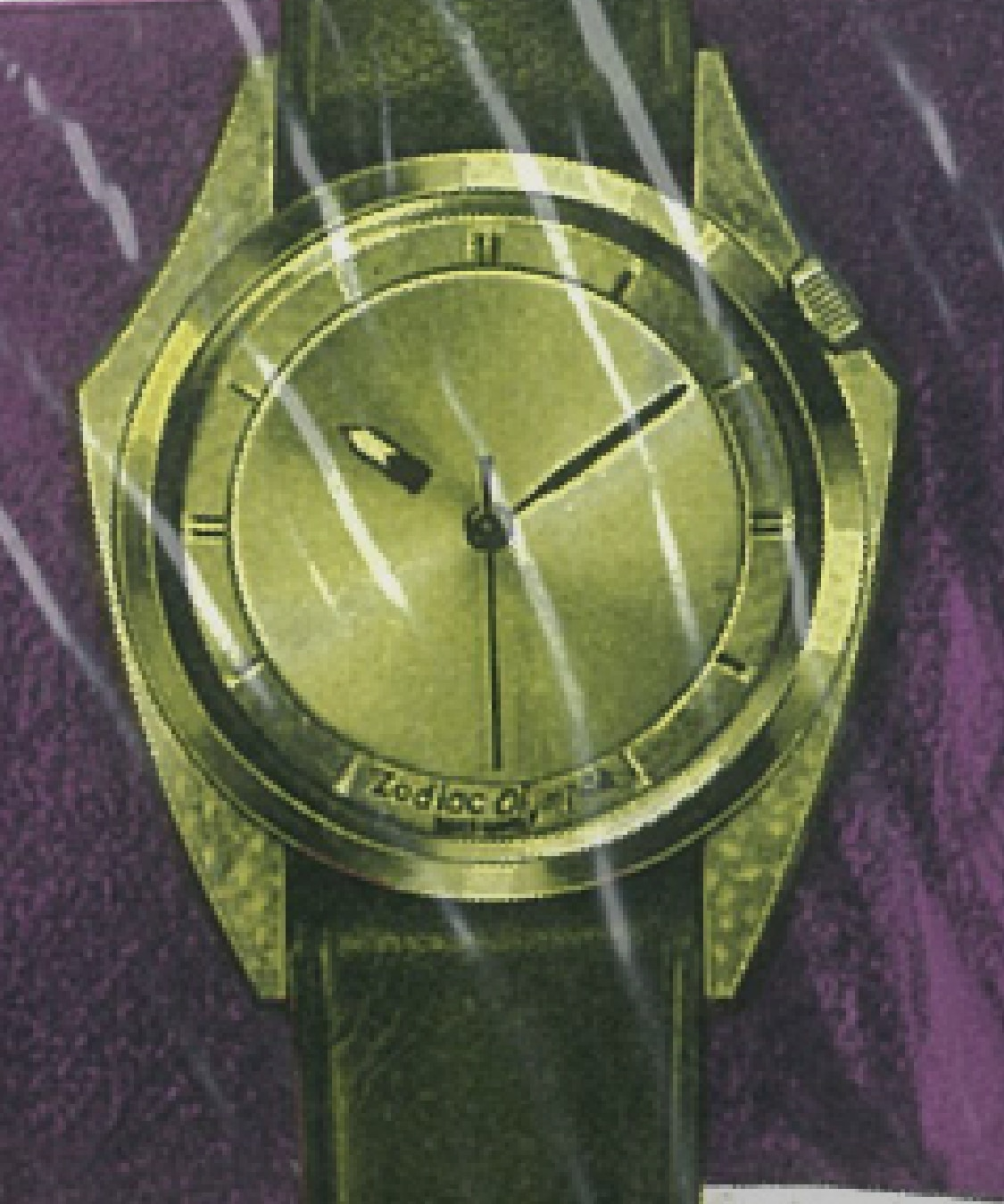 Purple and gold pop art style image, with a close up image of a face and a Zodiac Olympos watch.