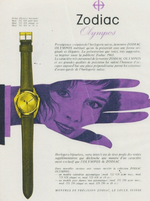 A vintage ad for the Zodiac Olympos