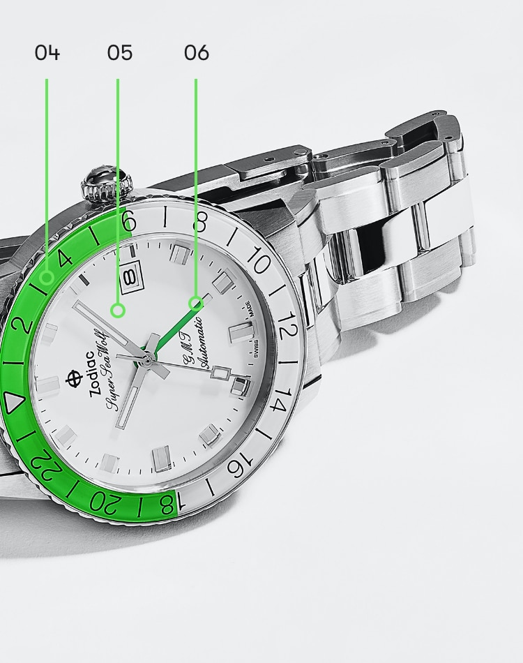 A Super Sea Wolf 53 Compression and a Super Sea Wolf GMT in neon green and white.