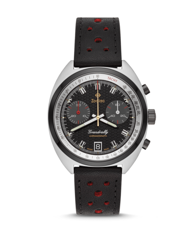 A black grandrally with a black leather strap
